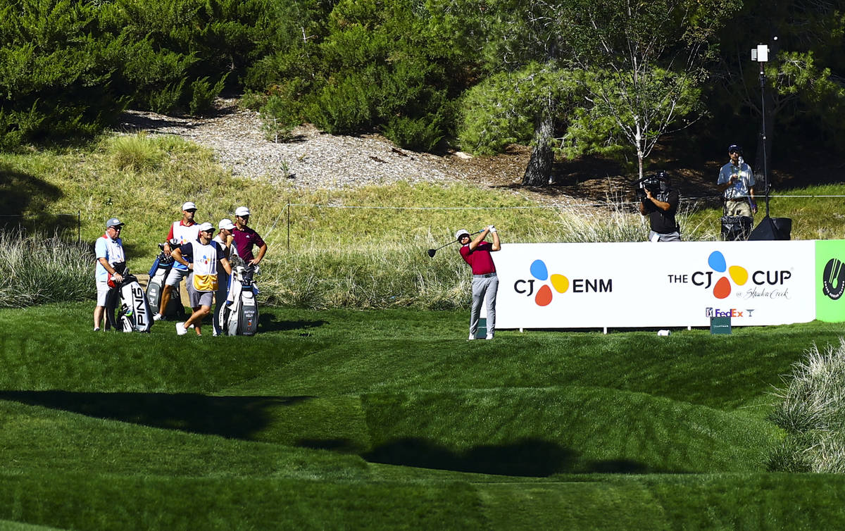 Tyrrell Hatton tees off at the fourth hole during the first round of the CJ Cup at the Shadow C ...