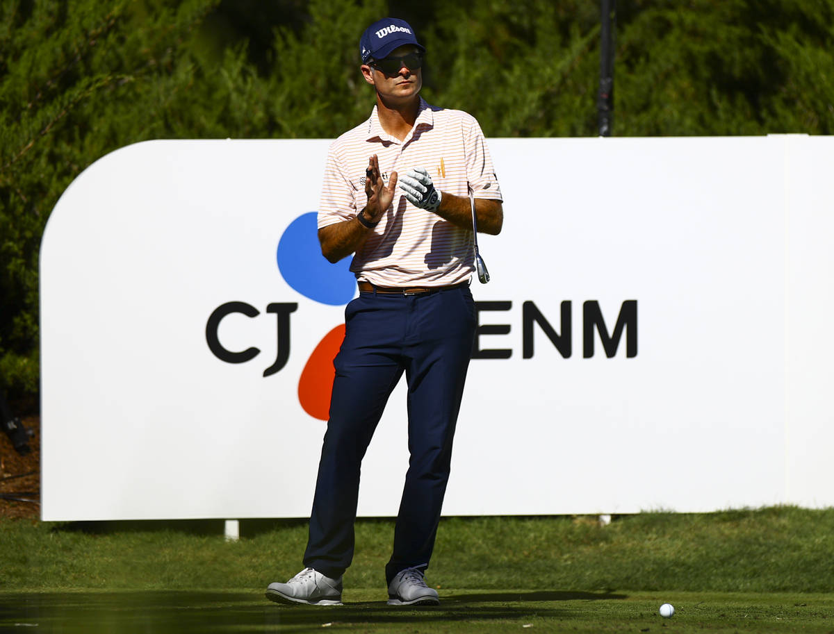 Kevin Streelman prepares for his tee shot at the fifth hole during the first round of the CJ Cu ...