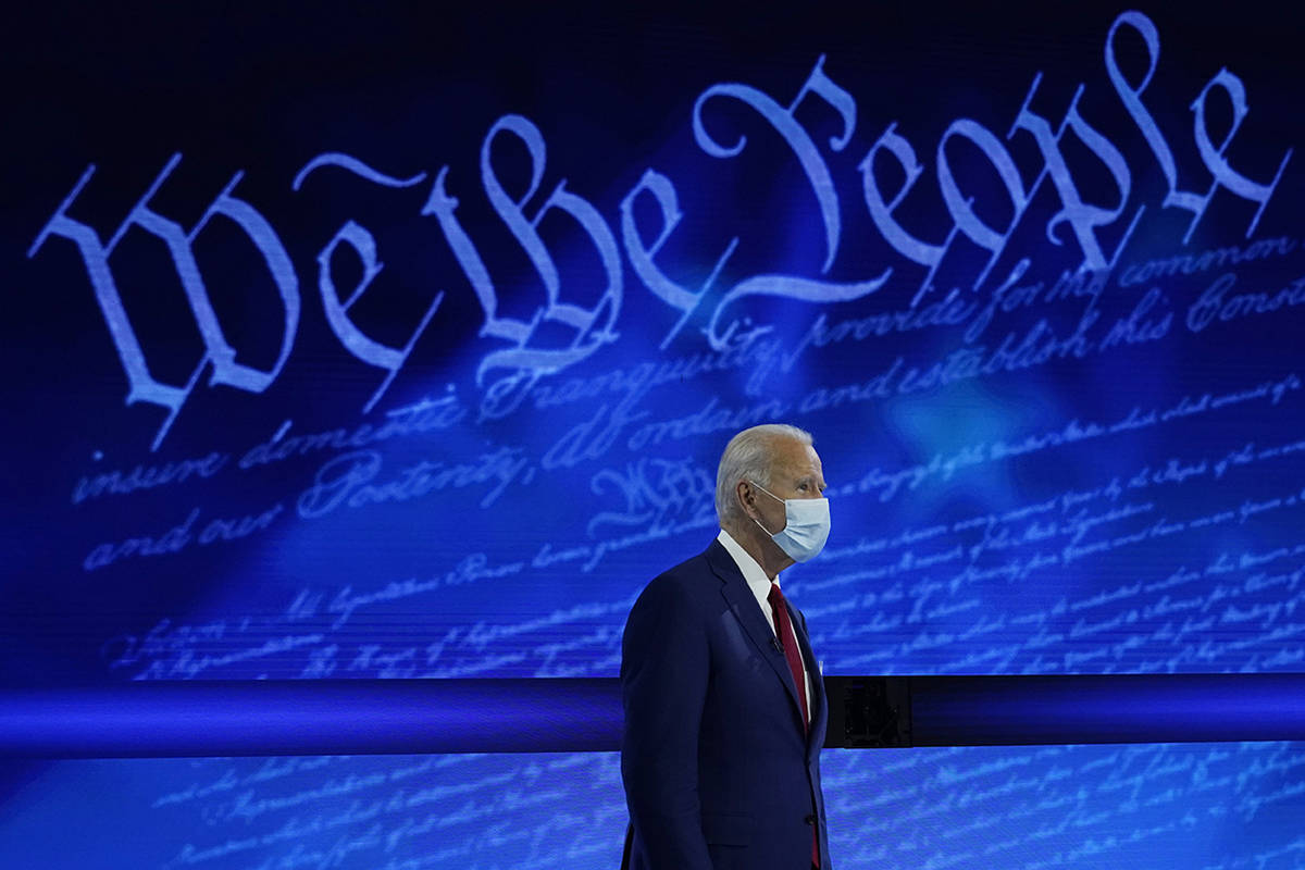 Democratic presidential candidate former Vice President Joe Biden participates in a town hall w ...