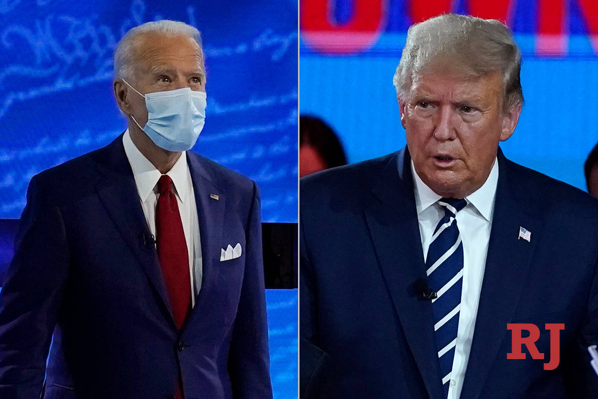 Joe Biden, left, and Donald Trump, right, participated in televised town halls on Thursday, Oct ...