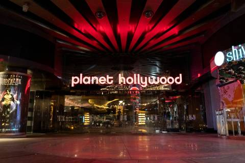 Planet Hollywood is closed amid coronavirus nonessential business closures on Wednesday, April ...