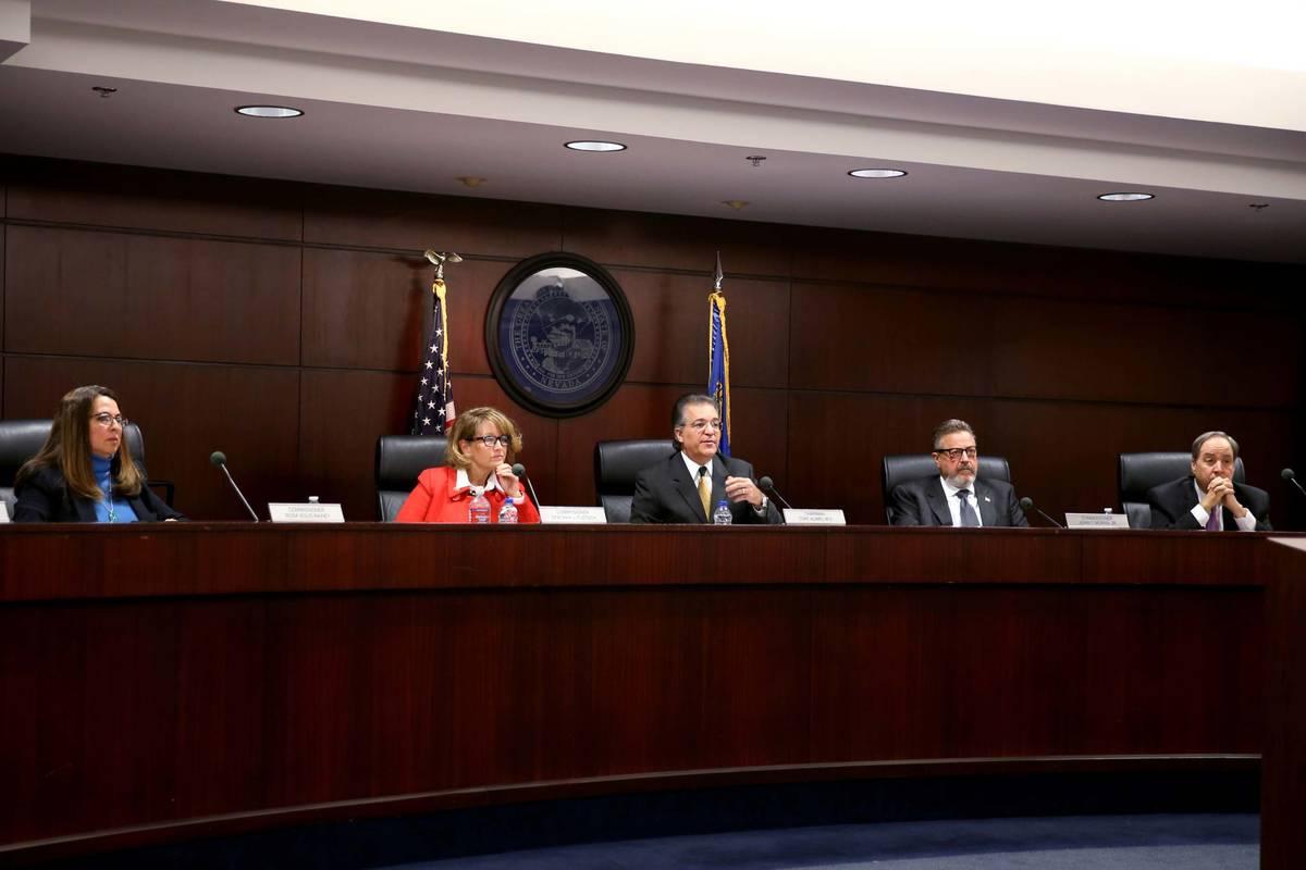 Nevada Gaming Commission members, from left, Rosa Solis-Rainey, Deborah Fuetsch, Chairman Tony ...