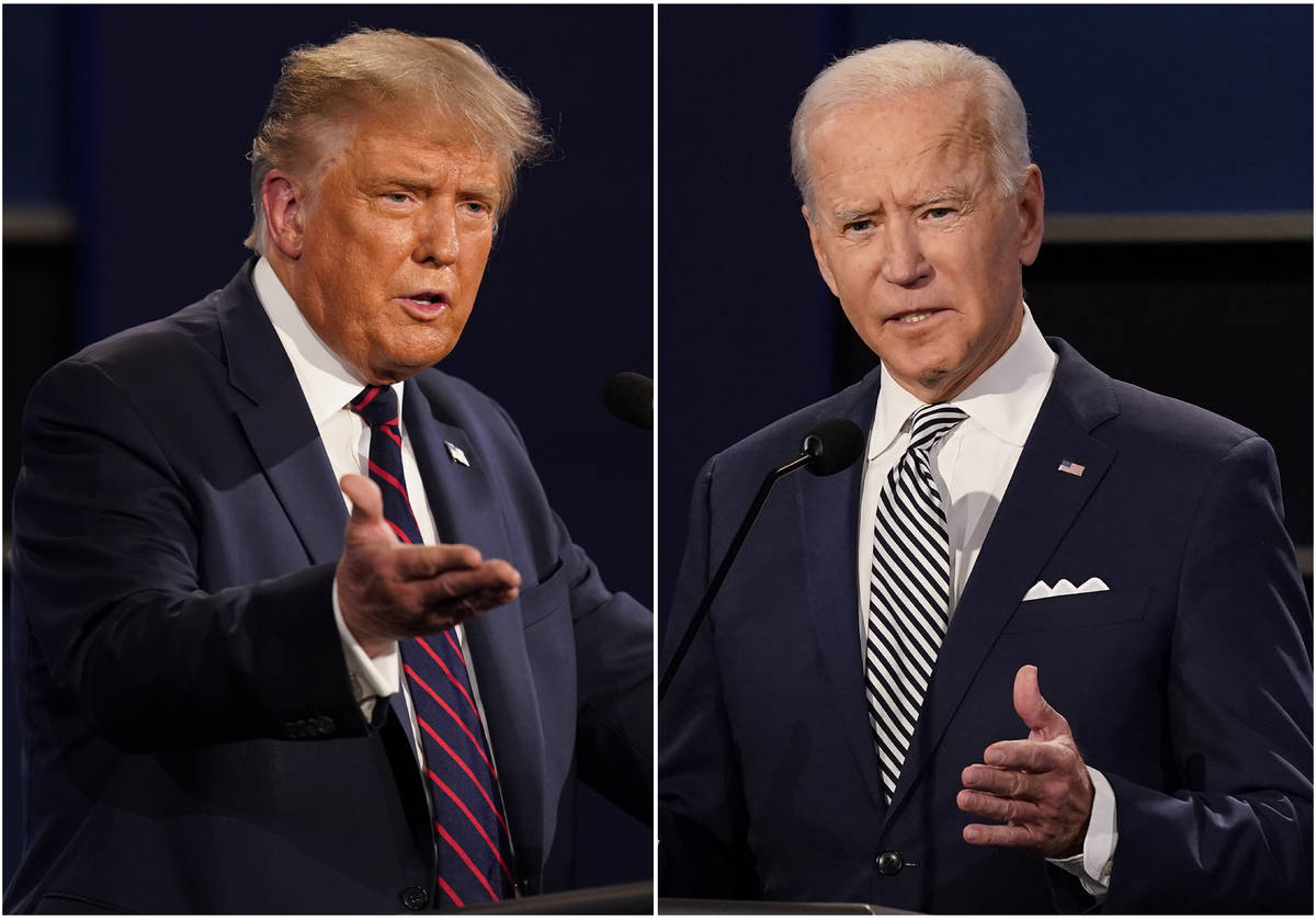 This combination of Sept. 29, 2020, file photos shows President Donald Trump, left, and former ...