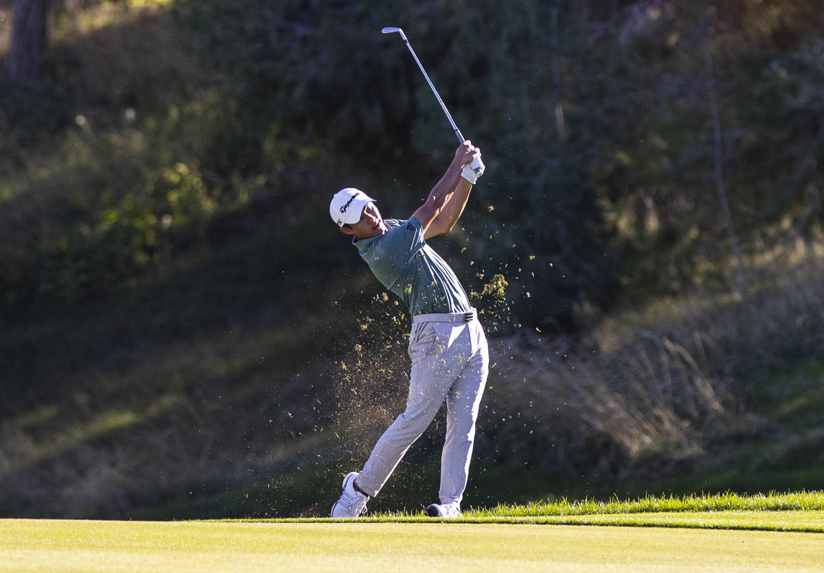 Collin Morikawa hits a fairway shot on the ninth hole during the second round of the CJ Cup at ...