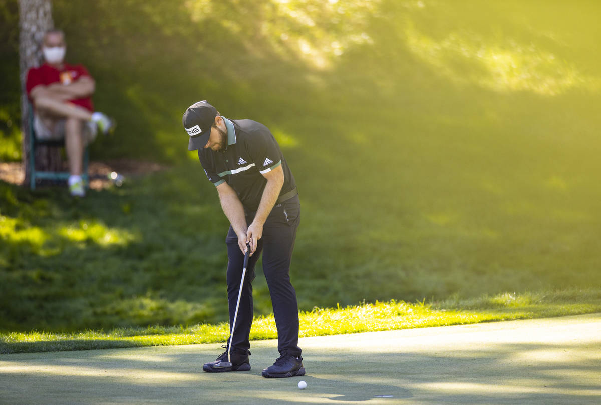 Tyrrell Hatton sinks a putt on the ninth green during the second round of the CJ Cup at the Sha ...