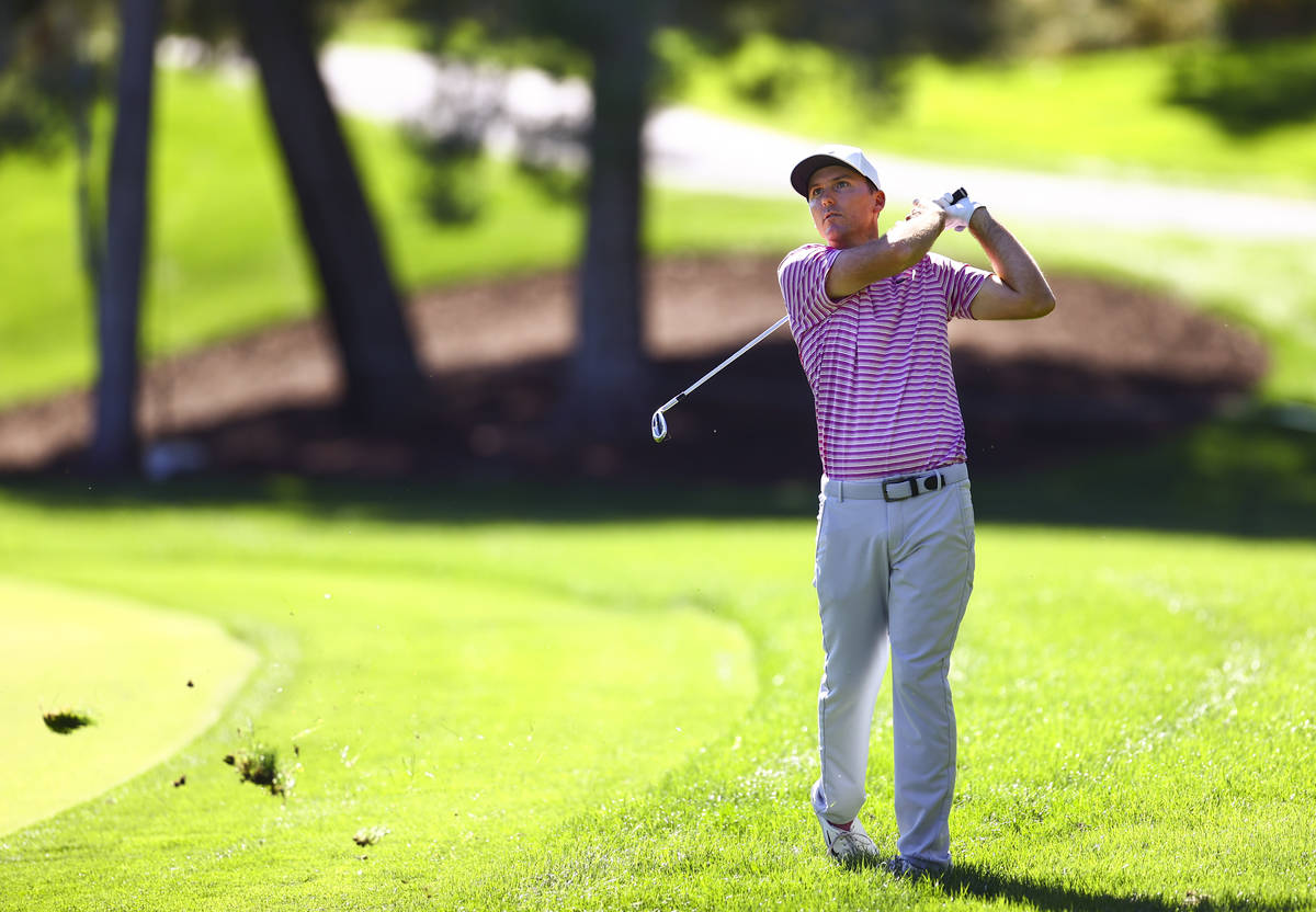 Russell Henley hits a fairway shot at the 10th hole during the second round of the CJ Cup at th ...