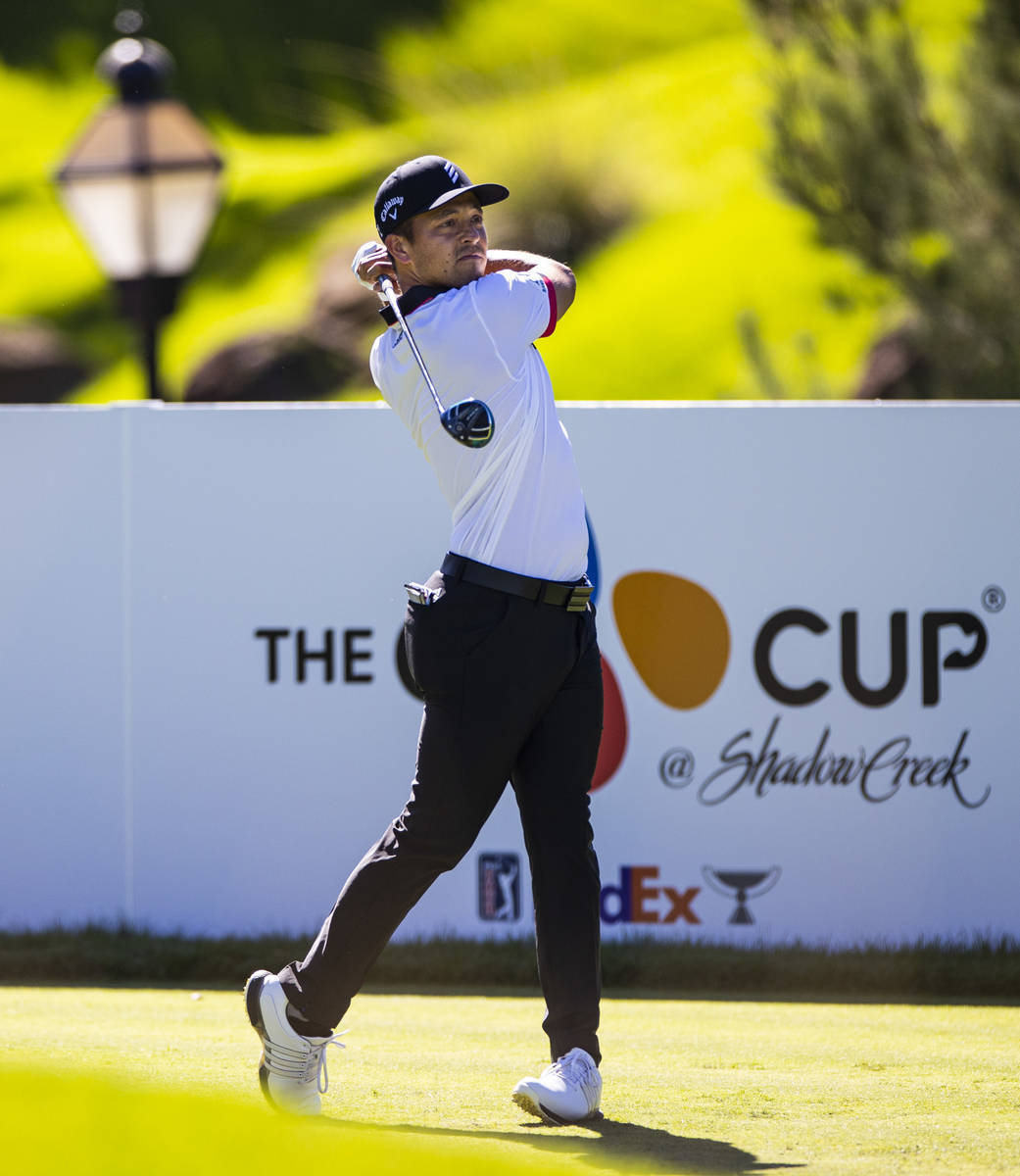Xander Schauffele tees off at the first hole during the second round of the CJ Cup at the Shado ...