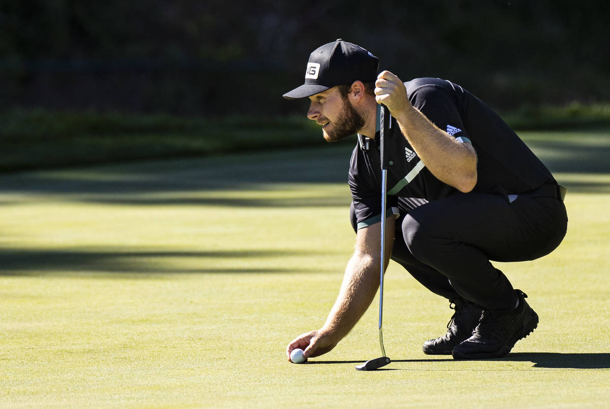 Tyrrell Hatton lines up a putt on the ninth green during the second round of the CJ Cup at the ...