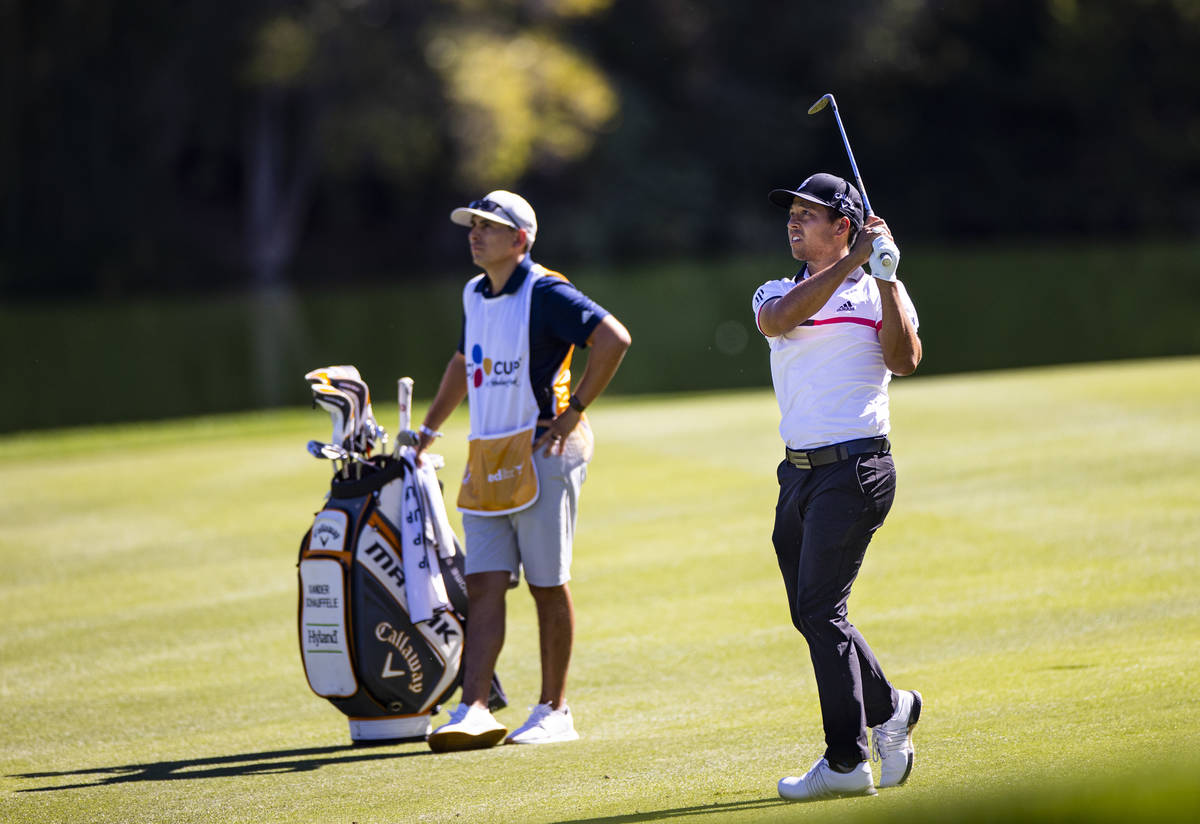 Xander Schauffele hits a fairway shot at the 18th hole during the second round of the CJ Cup at ...