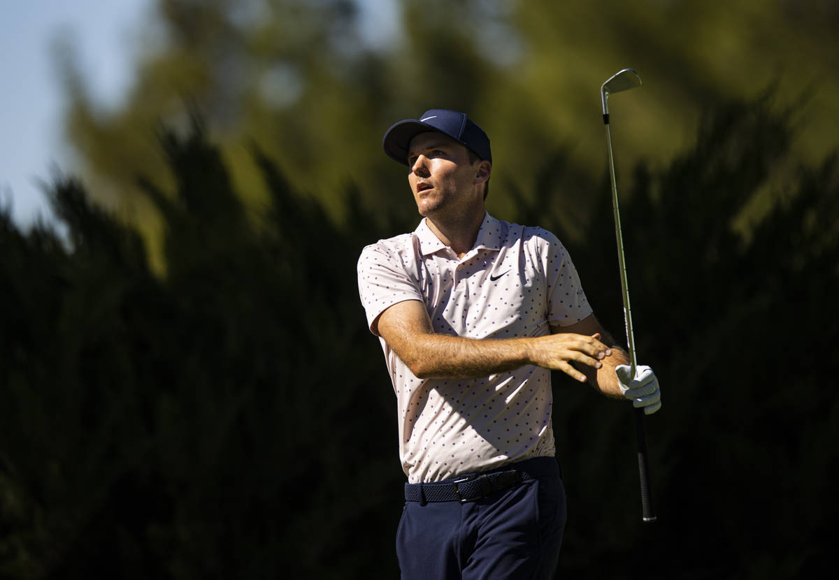 Russell Henley tees off at the fifth hole during the third round of the CJ Cup at the Shadow Cr ...