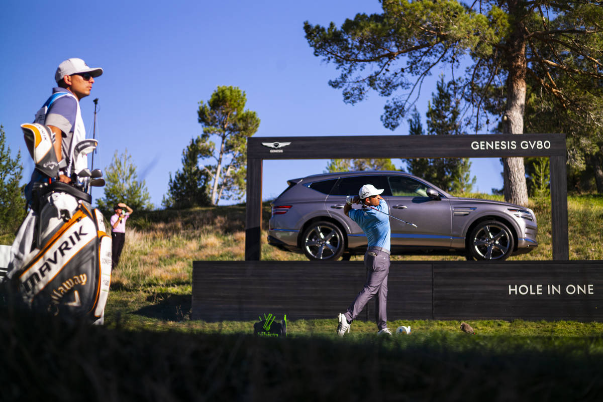 Xander Schauffele tees off at the 13th hole during the third round of the CJ Cup at the Shadow ...