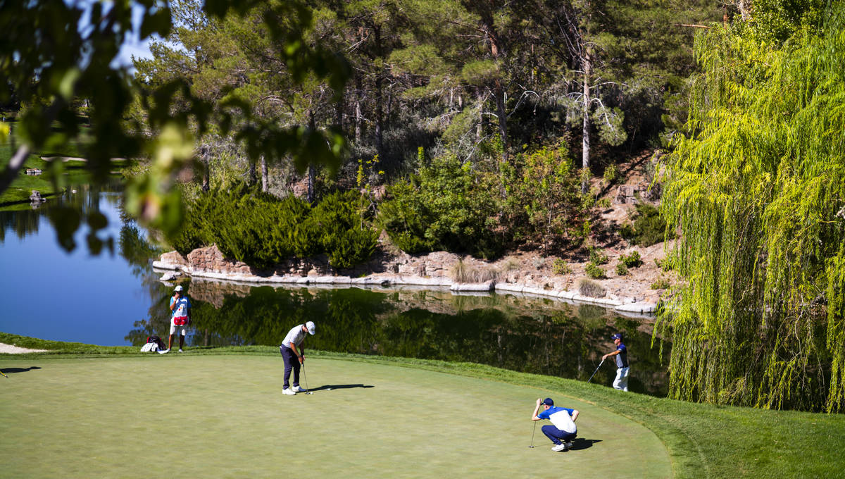 Lanto Griffin, lower left, putts on the fourth green during the third round of the CJ Cup at th ...