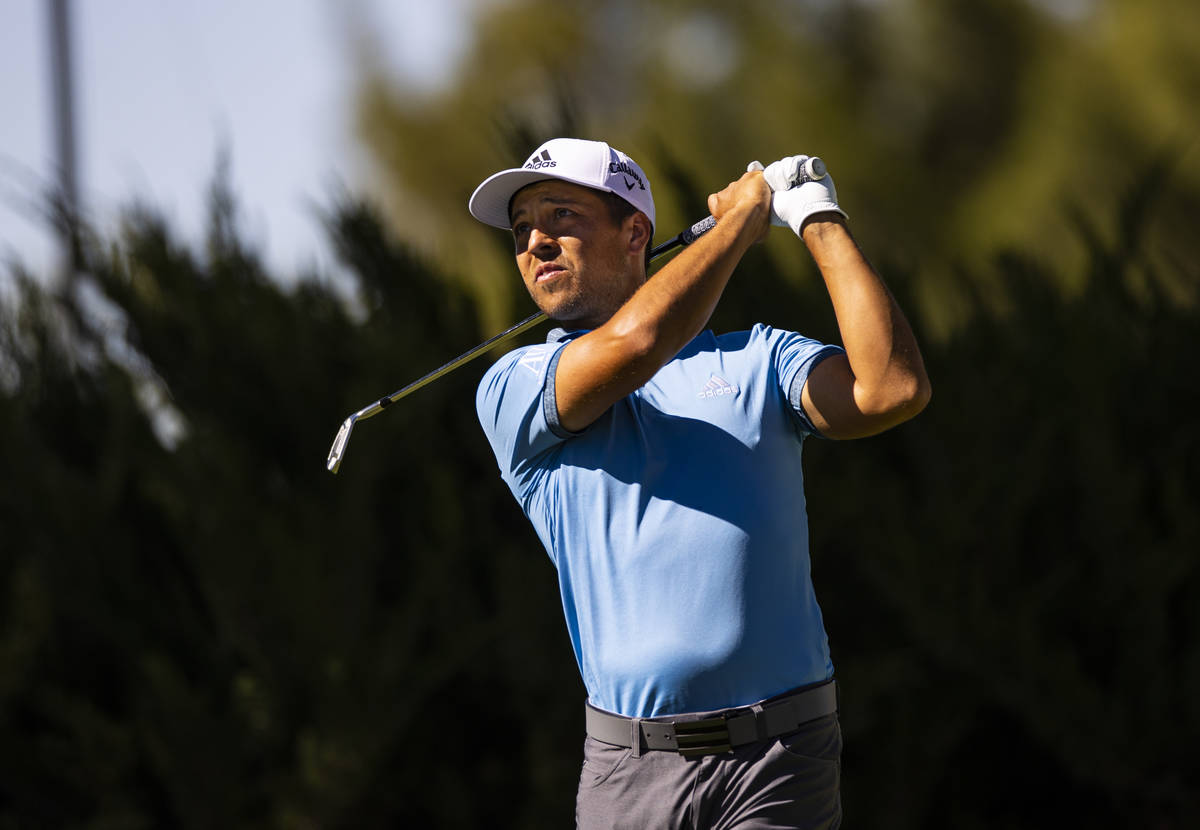 Xander Schauffele tees off at the fifth hole during the third round of the CJ Cup at the Shadow ...