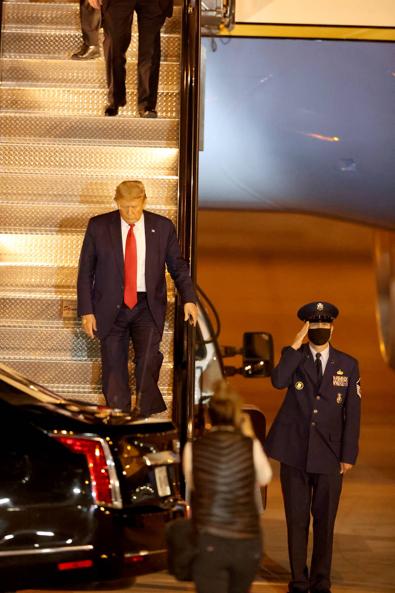 President Donald Trump at McCarran International Airport in Las Vegas after arriving on Air For ...