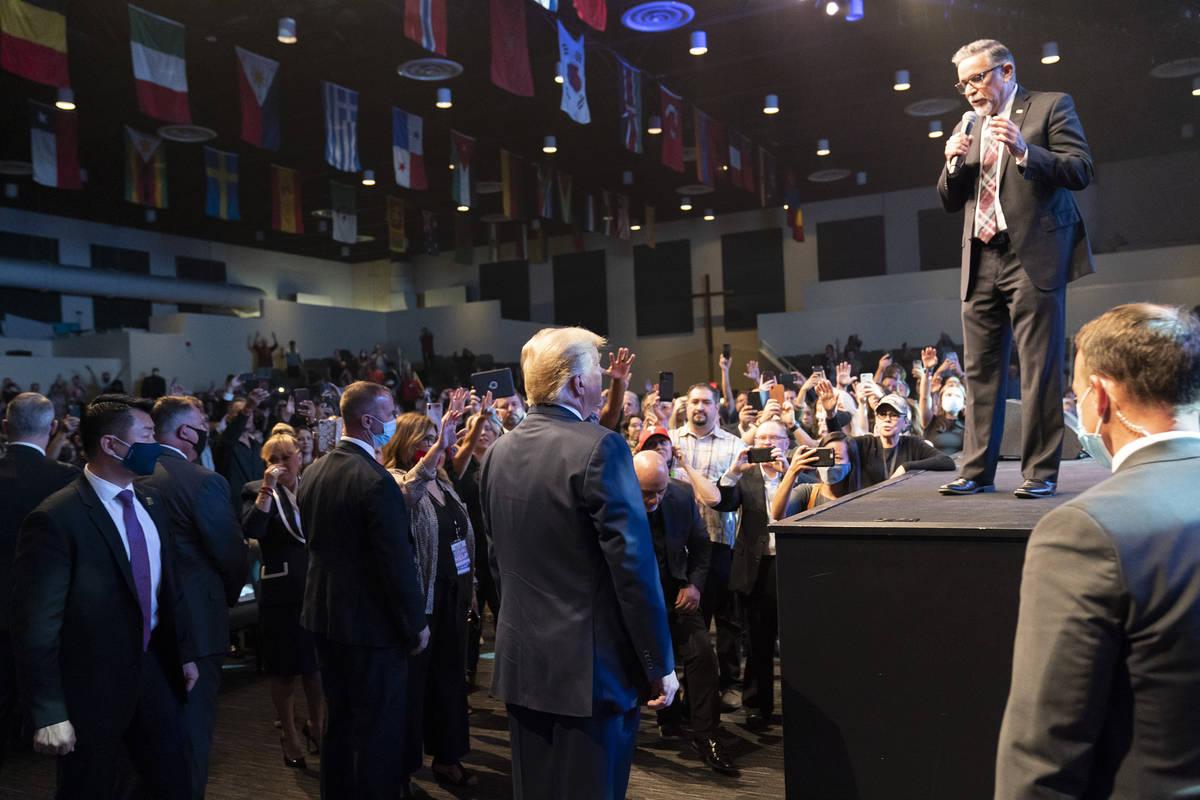 President Donald Trump attends church at International Church of Las Vegas, Sunday, Oct. 18, 20 ...