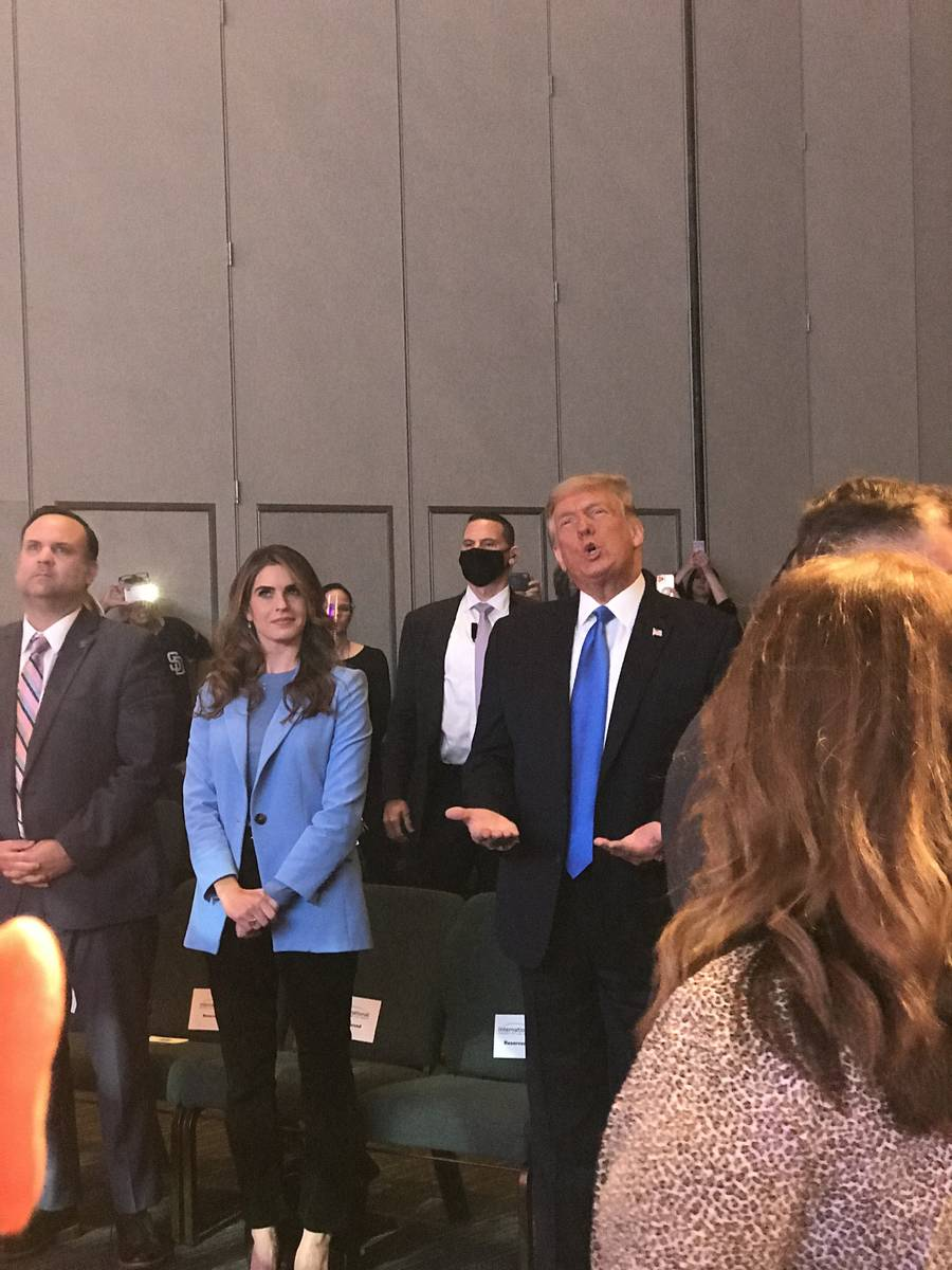 President Donald Trump attends service Sunday, Oct. 18, 2020, at the International Church of La ...