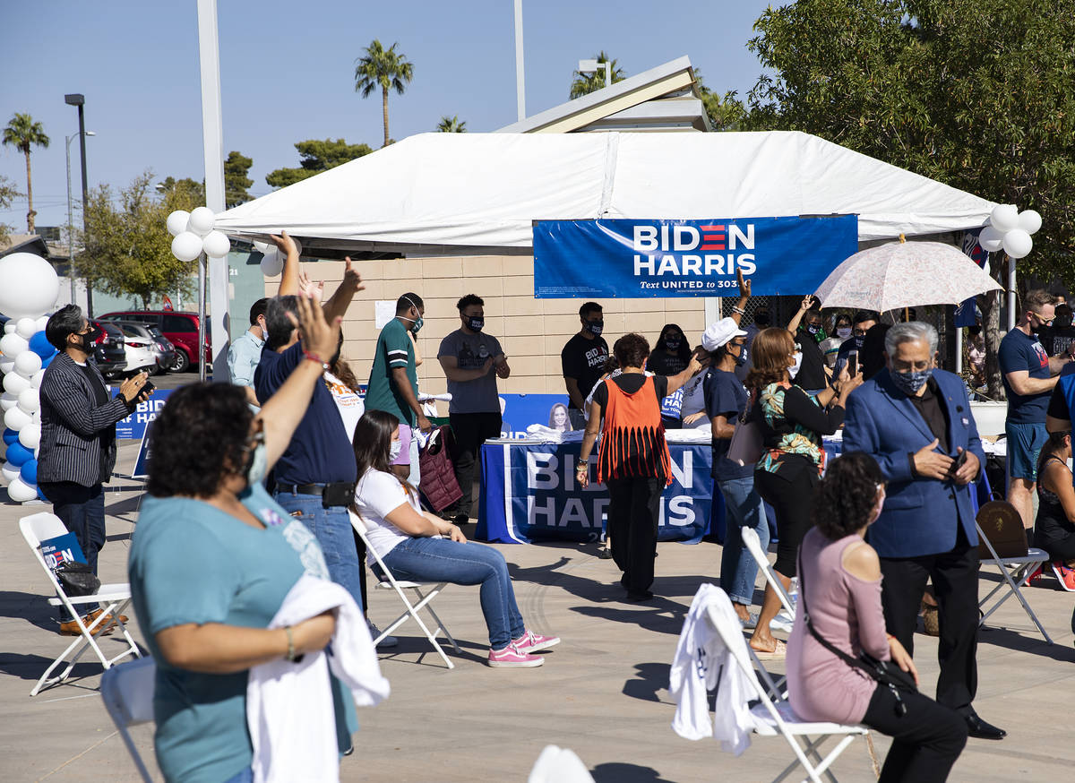 The crowd at a democratic event to promote early voting at the East Las Vegas Community Center ...
