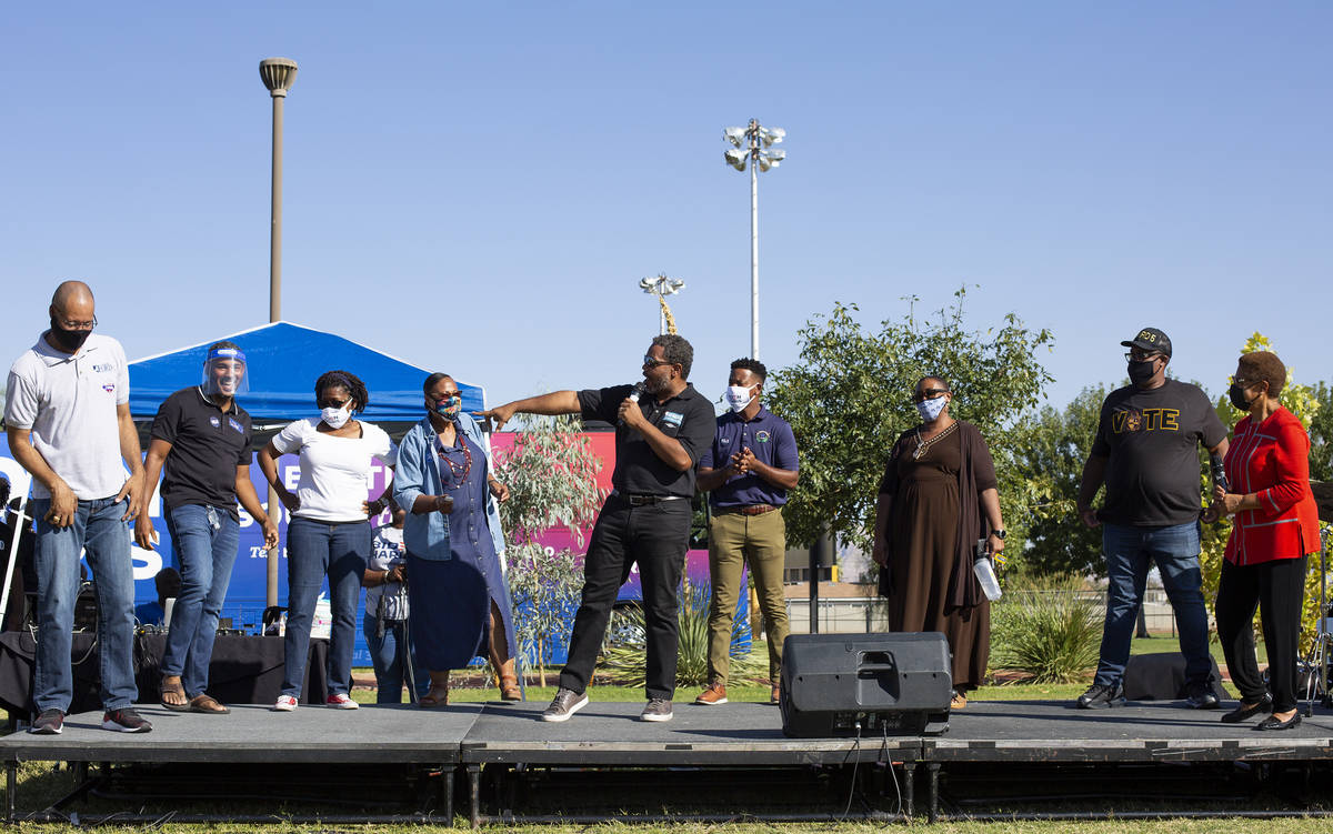 A group of Black elected leaders are introduced by Rep. Steven Horsford, D-Nev., at the Souls f ...