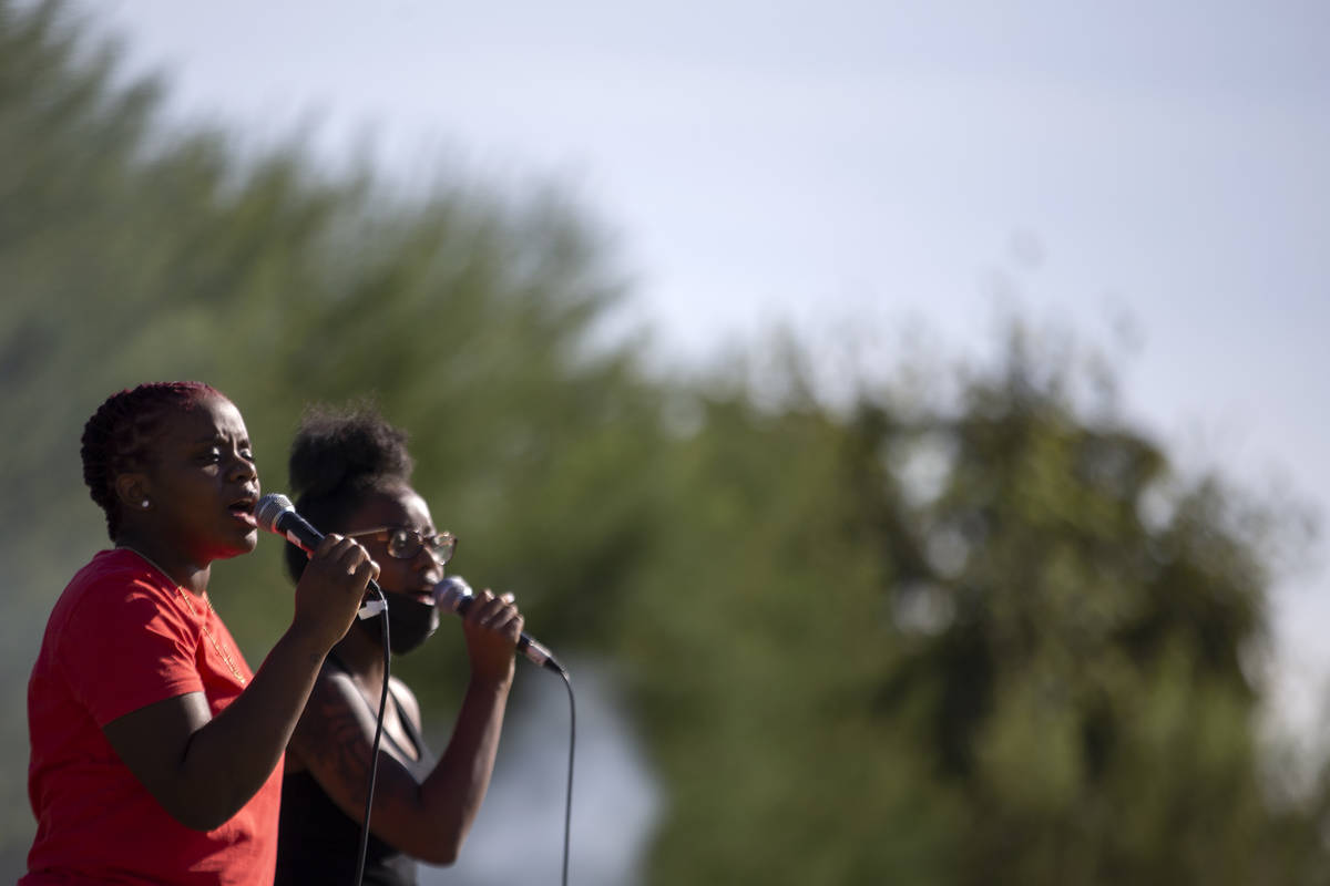 Gospel group Kelsey and Camille perform at the Souls to the Polls at Kianga Isoke Palacio Park ...