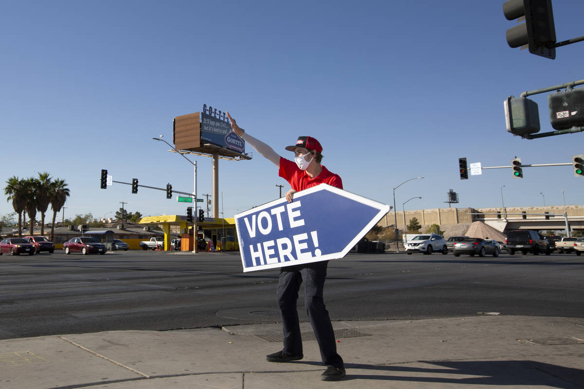 Ryan Habsell, who is saving up for medical school, works a side job inviting motorists to vote ...