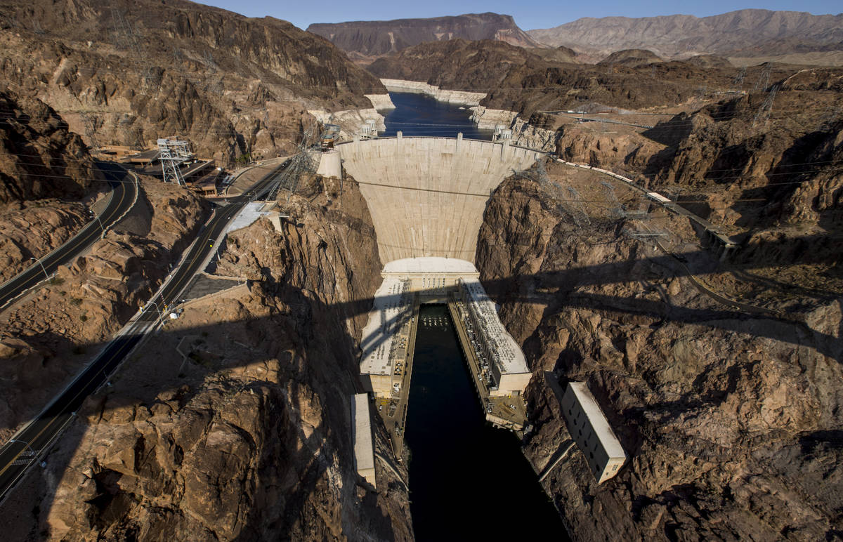 Hoover Dam, seen from from the Mike O'Callaghan-Pat Tillman Memorial Bridge, opened to the publ ...