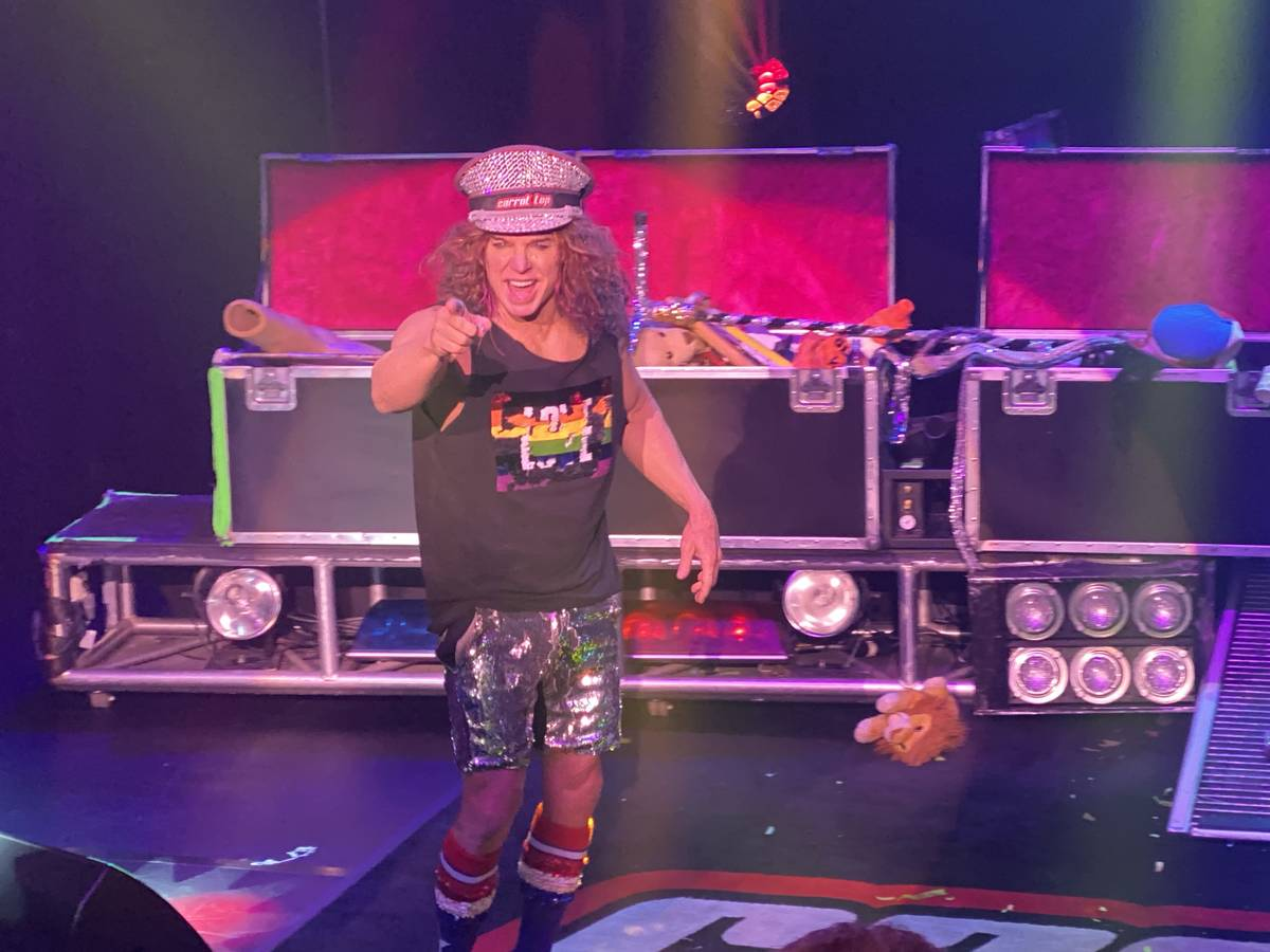Carrot Top is shown performing at Luxor's Atrium Showroom on Thursday, Oct. 17, 2019. (John Kat ...
