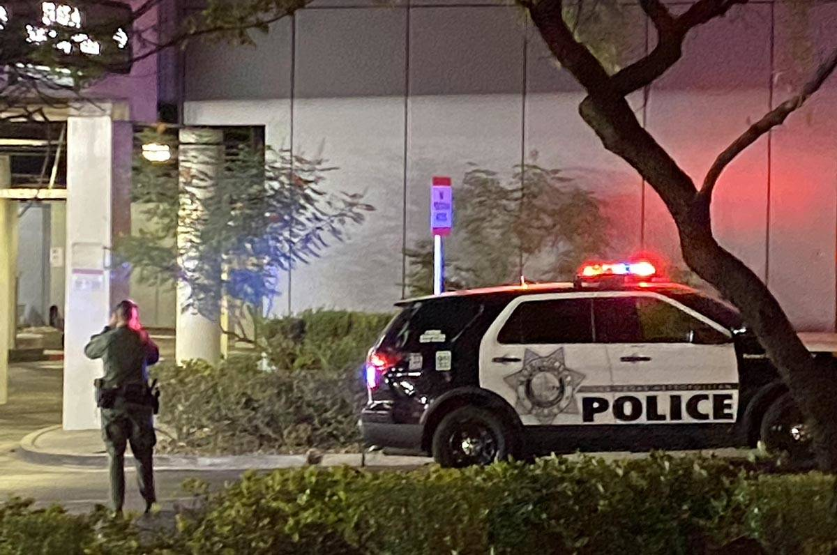A Las Vegas police officer near the scene of a shooting on the Las Vegas Strip early Monday, Oc ...