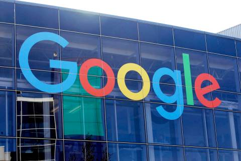 In a Sept. 24, 2019, file photo a sign is shown on a Google building at their campus in Mountai ...