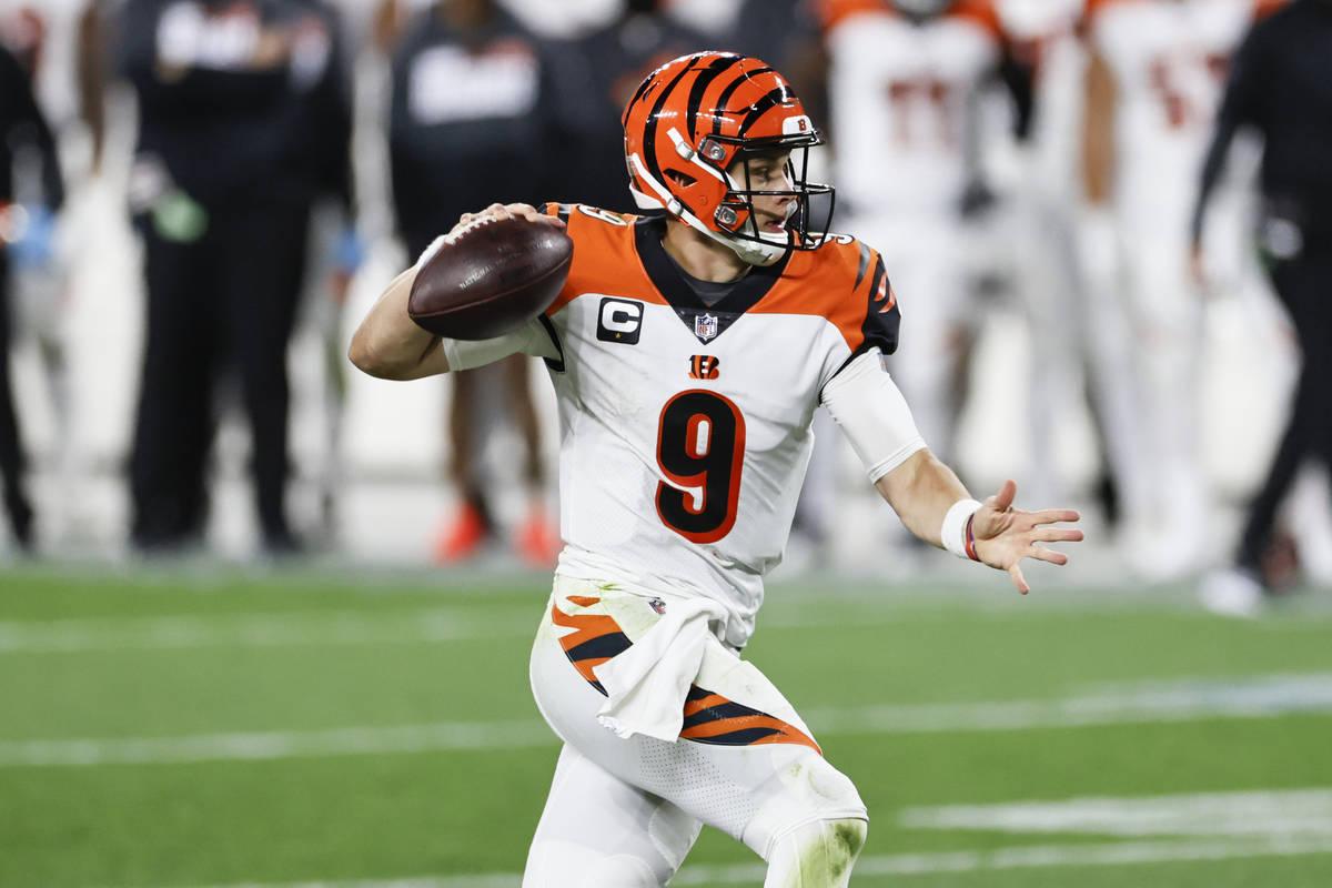 Cincinnati Bengals quarterback Joe Burrow throws during the second half of an NFL football game ...