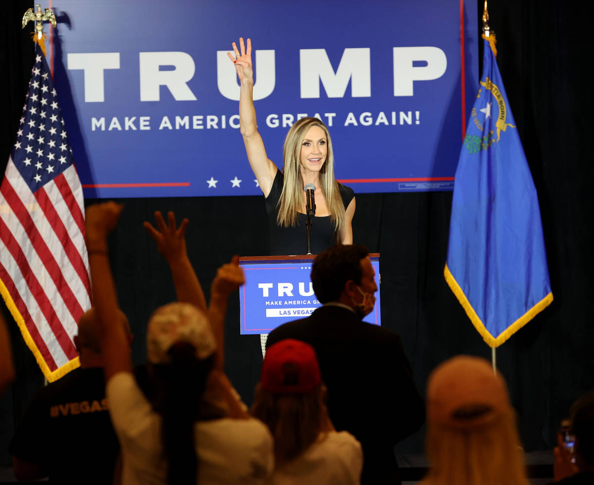 Lara Trump, daughter-in-law of President Donald Trump and wife of Eric Trump, leads a chant of ...