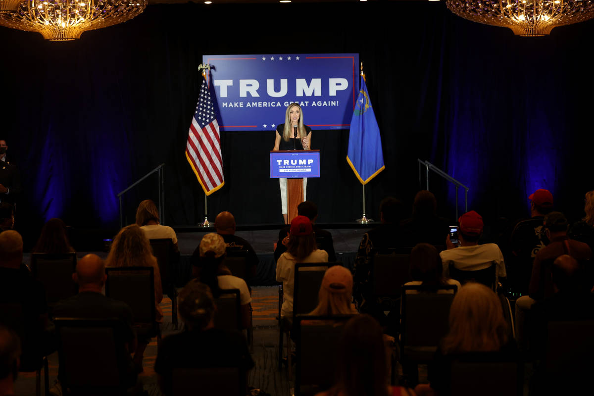Lara Trump, daughter-in-law of President Donald Trump and wife of Eric Trump, speaks at a Make ...