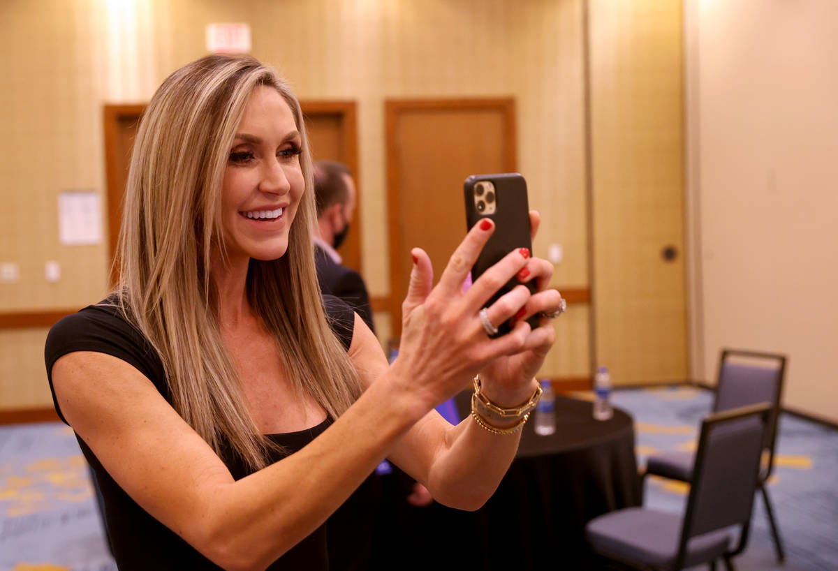 Lara Trump, daughter-in-law of President Donald Trump and wife of Eric Trump, takes a video cal ...