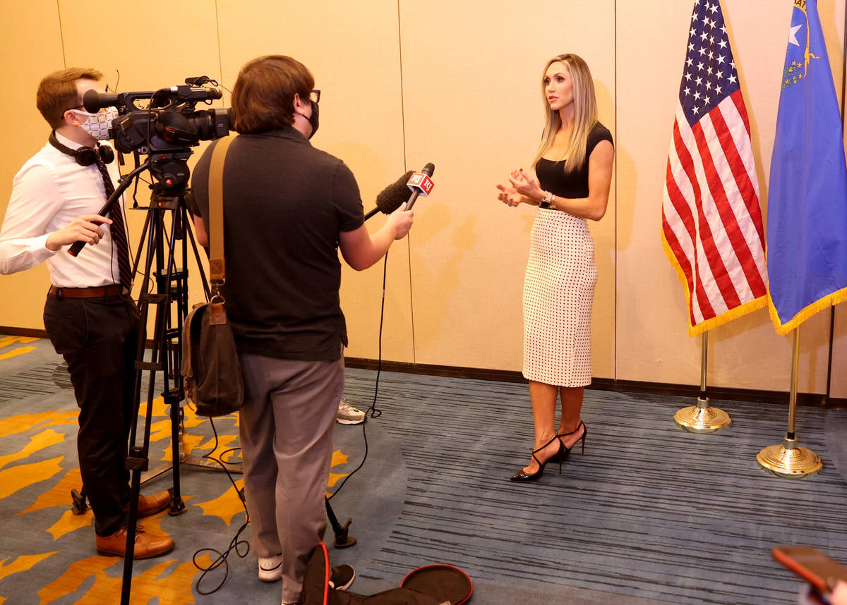 Lara Trump, daughter-in-law of President Donald Trump and wife of Eric Trump, to the Las Vegas ...
