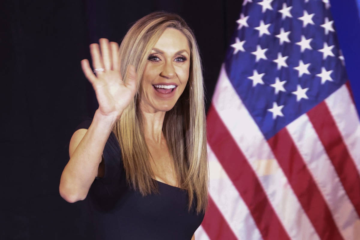 Lara Trump, daughter-in-law of President Donald Trump and wife of Eric Trump, takes the stage a ...
