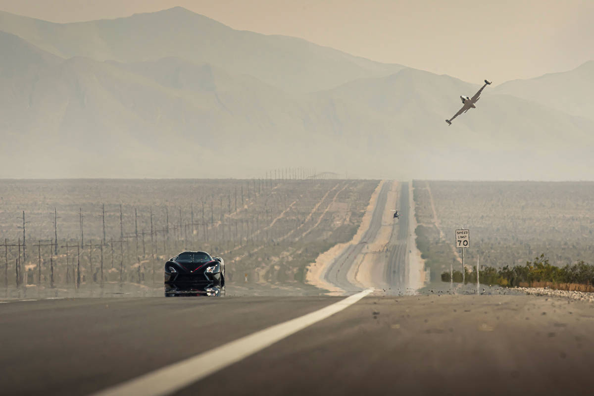 An SSC Tuatara driven by Oliver Webb prepares to set out on his record-breaking public road spe ...