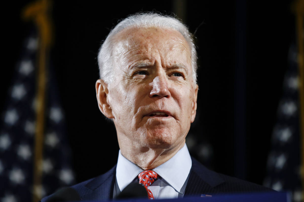 FILE - In this March 12, 2020, file photo, Democratic presidential candidate former Vice Presid ...