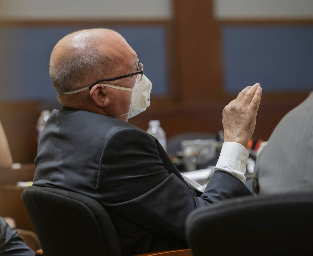 Attorney Dominic Gentile, who is defending Adolfo Orozco in the Alpine fire case, speaks during ...