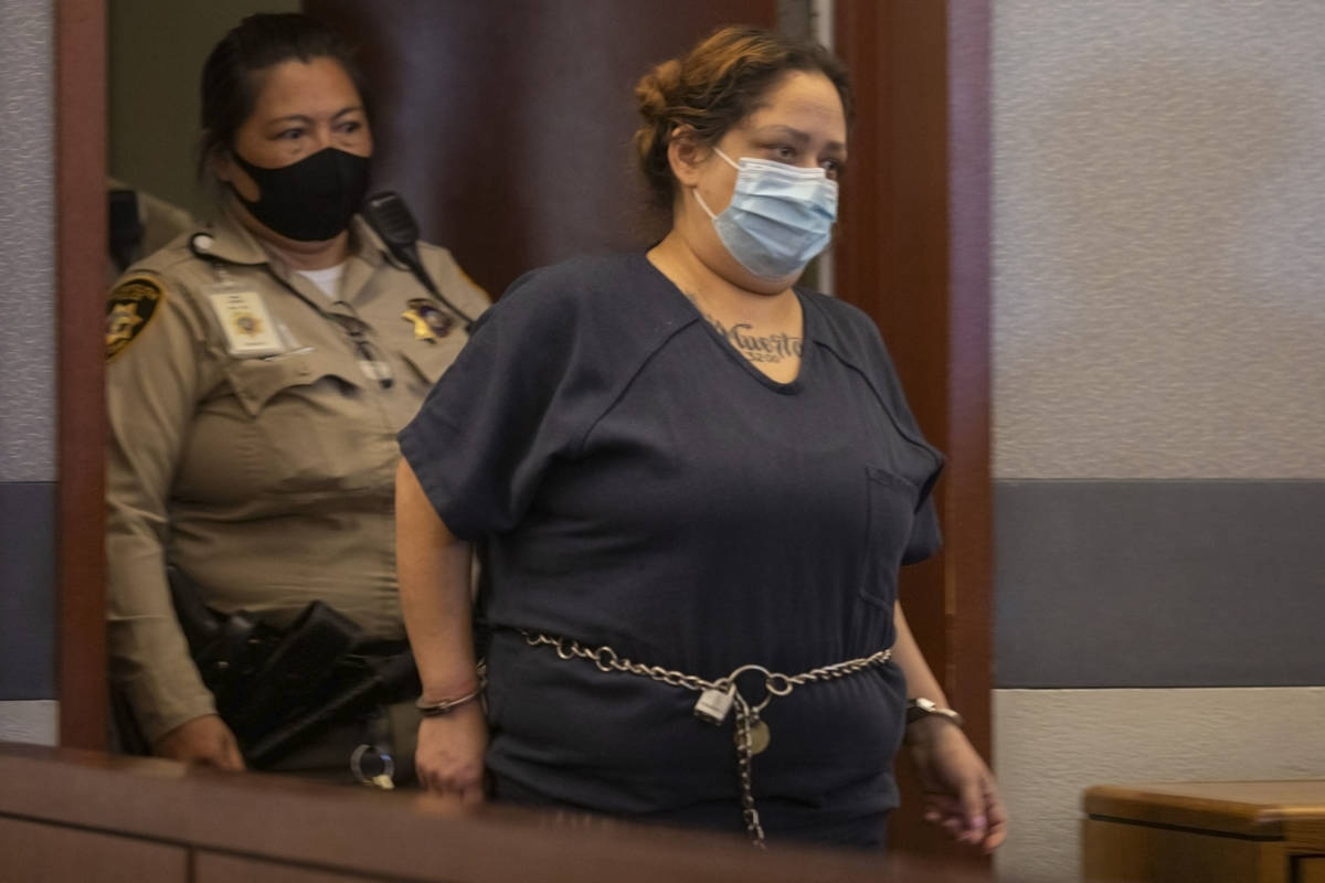 Defendant Malinda Mier, charged in the Alpine Motel Apartments fire, enters the courtroom after ...