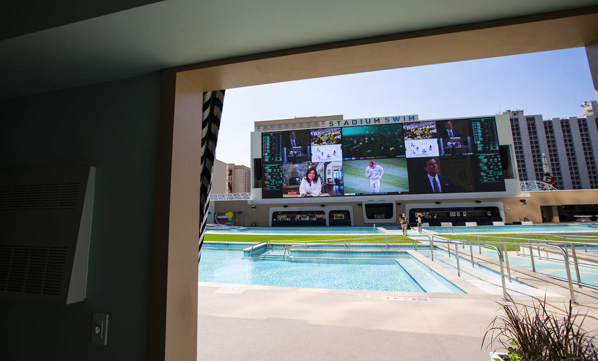A view from a cabana at Stadium Swim during a tour of Circa, the first from-the-ground-up casin ...
