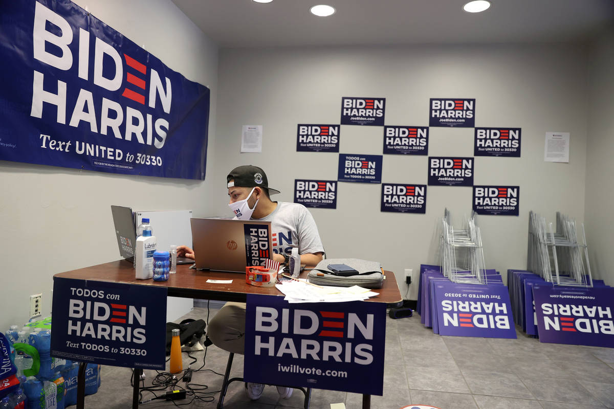 Voting Activation Director Nikoa Lim works at the NV Dems east Las Vegas office in Las Vegas, W ...