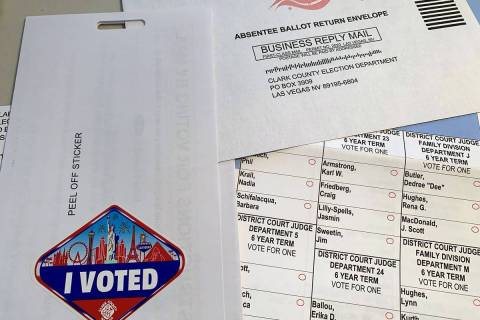 A mail-in ballot for the primary election. (Hali Bernstein Saylor/Boulder City Review)
