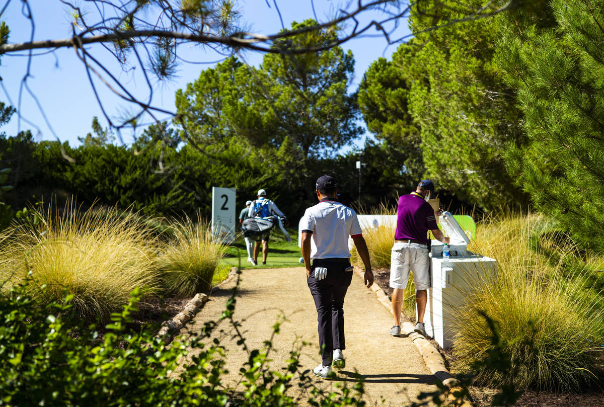 Xander Schauffele walks to the second hole during the second round of the CJ Cup at the Shadow ...