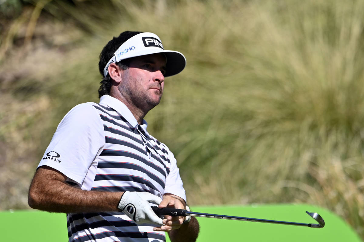 Bubba Watson watches his tee shot during the final round of the CJ Cup golf tournament at Shado ...