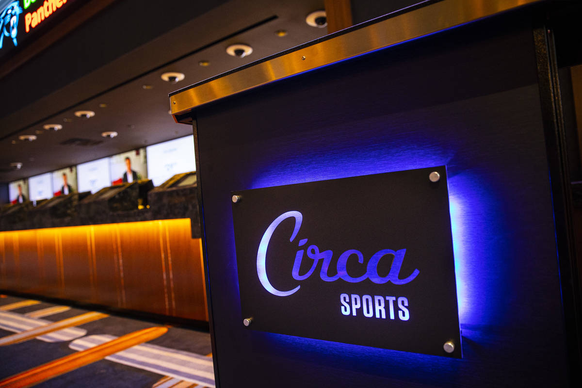 Signage at the Circa Sportsbook during a tour of Circa, the first from-the-ground-up casino bui ...