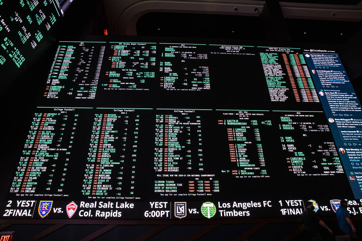 A view of one of the displays at the Circa Sportsbook during a tour of Circa, the first from-th ...