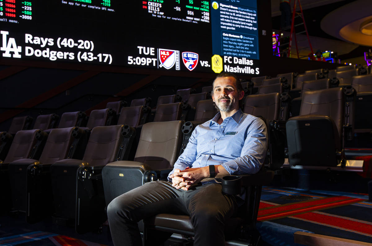 Matt Metcalf, director of the Circa Sportsbook, poses for a portrait during a tour of Circa, th ...