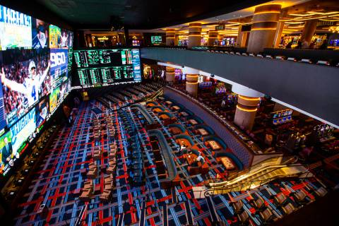 A view of the Circa Sportsbook from Victory Burger & Wings Co. during a tour of Circa, the ...