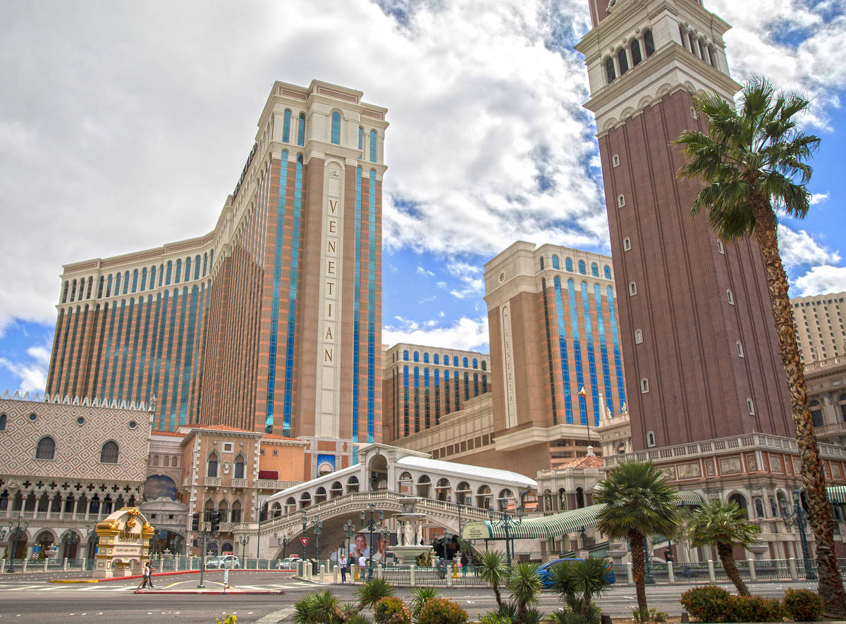 The Venetian is seen in Las Vegas in this March 17, 2020, file photo. (Benjamin Hager/Las Vegas ...