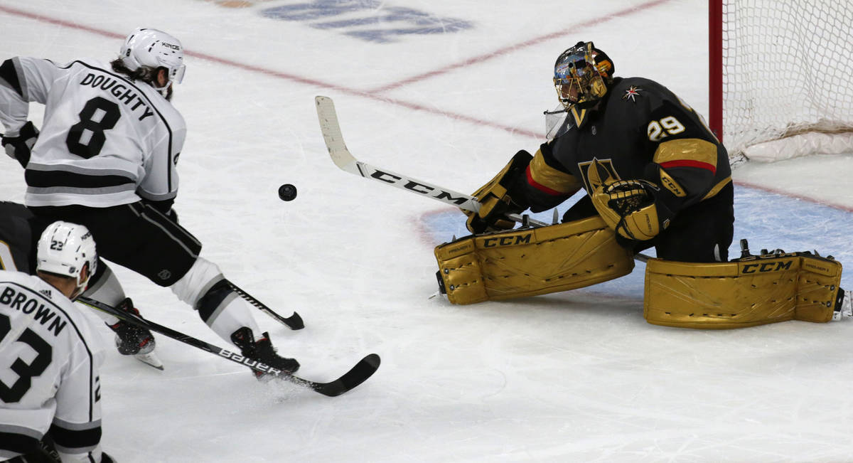Vegas Golden Knights goaltender Marc-Andre Fleury (29) makes a save on a shot by Los Angeles Ki ...