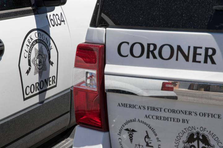 Clark County coroner vehicles parked at their headquarters at 1704 Pinto Lane in Las Vegas on M ...
